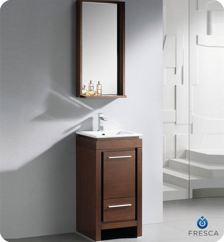 Fresca 16 allier small modern bathroom vanity wenge finish for Mini lavabo salle de bain